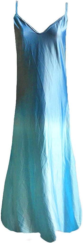 degasAdG Womens Maxi Dress Sleeveless,Ladies Summer Retro V Neck Loose Beach Casual Tank Long Dress