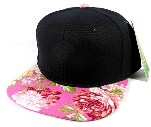 Fashion Blank Floral Snapback Hats Caps - Black | Pink Flower Brim