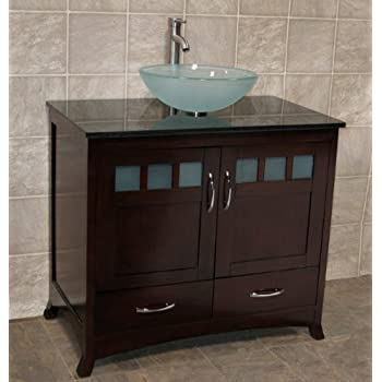 solid wood 36 bathroom vanity cabinet black granite top. Black Bedroom Furniture Sets. Home Design Ideas