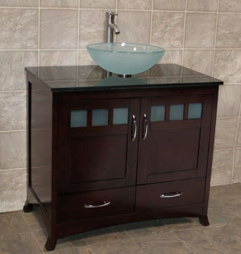 "Solid wood 36"" Bathroom Vanity Cabinet black granite Top Vessel Sink TR6"