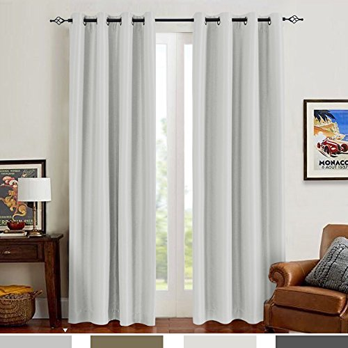 Silk Curtain (Blackout Curtains for Bedroom Antibacteria Luxury Faux Silk Window Treatment Sets Dupioni Window Drapes for Living Room Curtain Set (2 Panels, 84 Length, Dove Grey))
