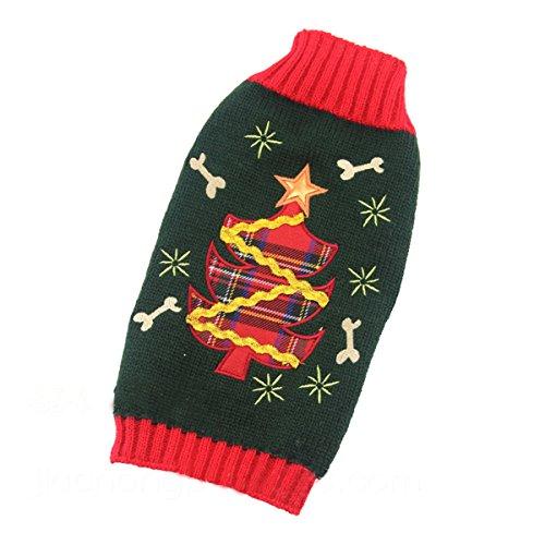 simpvale Hund Winter Herbst Weihnachtsbaum Muster stricken Pullover Grün