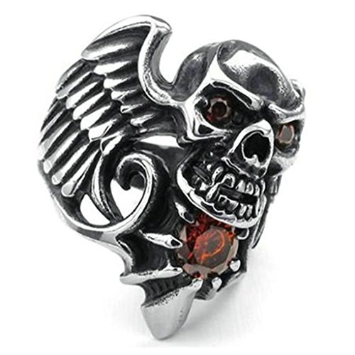 Stainless Steel Ring for Men, Skull Ring Gothic Silver Band 27MM Size 8 - Rims Zinger
