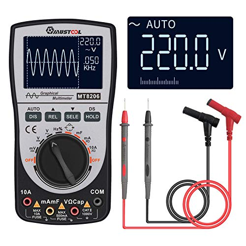 MUSTOOL Upgraded MT8206 2in1 Intelligent Digital Oscilloscope Multimeter Current Voltage Resistance Tester with Analog Bar - Analog Oscilloscope Digital