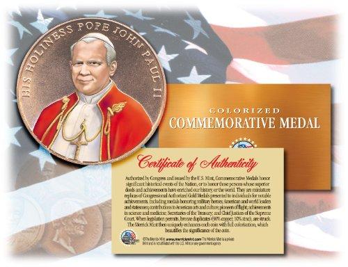 - Colorized POPE JOHN PAUL II *Commemorative Medal* Bronze Coin U.S. Congressional
