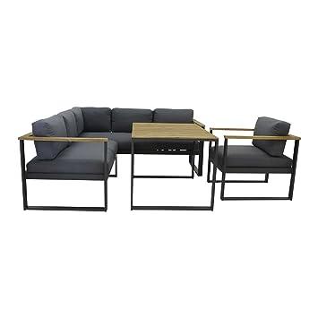 Design Gartenmöbel Melton Loungemöbel Outdoor Aluminium/Textilpolster  Dunkelgrau Loungeecke Modern Gartenlounge Hochwertig Loungegruppe