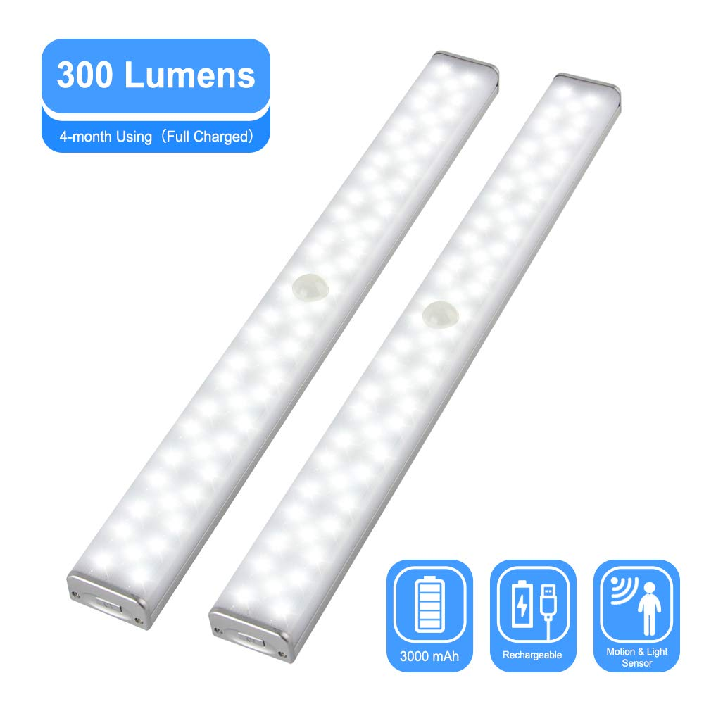 CHINLY LED Closet Lights, Rechargeable Stick-on Wireless 300 Lumens Motion Sensor Under Cabinet Light with 3000mAh Battery & Magnetic Tap for Closet, Cabinet, Wardrobe, Kitchen, Hallway (2 Pcs)