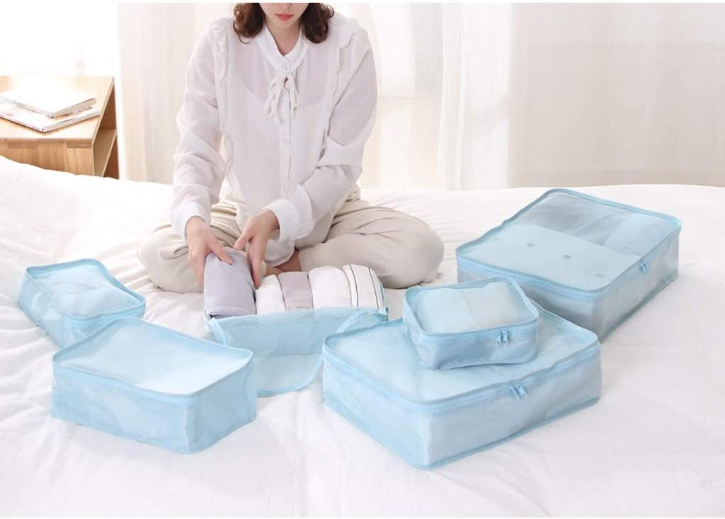 6pcs Travel Storage Bag Organizer Luggage Suitcase Compression Pouches Fenfen-snb Packing Cubes Color : Beige