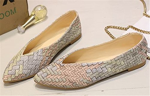 Low Classic Pointy Toe Slip Shoes Flat Women's Leather set Shoes adil Beige Ballet PU on EqBgtnP