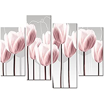 Floral Canvas Wall Art,Canvas Print Pink Tulips for Wall Decor, Framed and Stretched 4 Panels Elegant Flowers Canvas Prints (01 Pink Tulip)