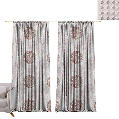 Bedroom Curtains Floral,Circular Flower Blooms in Soft Earthen Tones Curved Branches Effects Artwork, Warm Taupe Pearl W96 x L108 Printed Window Curtains for Kitchen