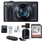 Canon PowerShot SX740 HS Digital Camera (Black) PRO Bundle; Includes: 64GB SDXC Class 10 Memory Card + Spare Battery + Camera