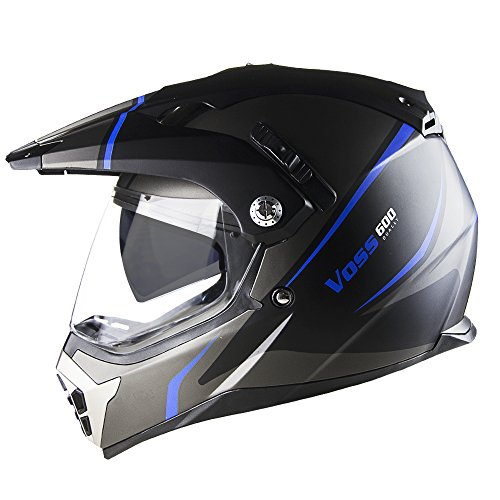 Voss 600 Dually Blue Thunderbolt Dual Sport helmet with Integrated Sun Lens and Removable Peak DOT - M - Matte Blue Thunderbolt
