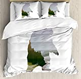Cabin Comforter Set,Wild Animals of Canada Survival in the Wild Theme Hunting Camping Trip Outdoors Bedding Duvet Cover Sets For Boys Girls Bedroom,Zipper Closure,4 Piece,Multicolor Twin Size