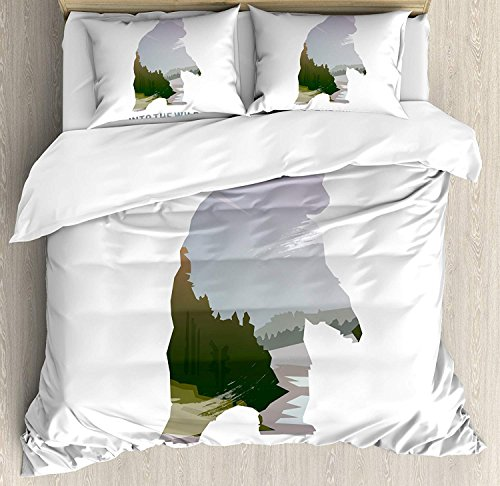 Cabin Comforter Set,Wild Animals of Canada Survival in the Wild Theme Hunting Camping Trip Outdoors Bedding Duvet Cover Sets For Boys Girls Bedroom,Zipper Closure,4 Piece,Multicolor Twin Size by Our Wings