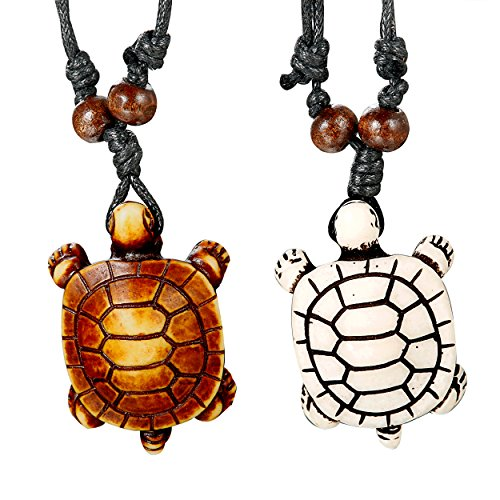 Thunaraz 2pcs sea Turtle Necklace Pendant Set for Men Adjustable Cord -