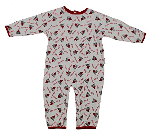 Mighty Mac Chicago Bulls NBA Baby Boys Infants All-Over Print Pajamas Coveralls, White & Red