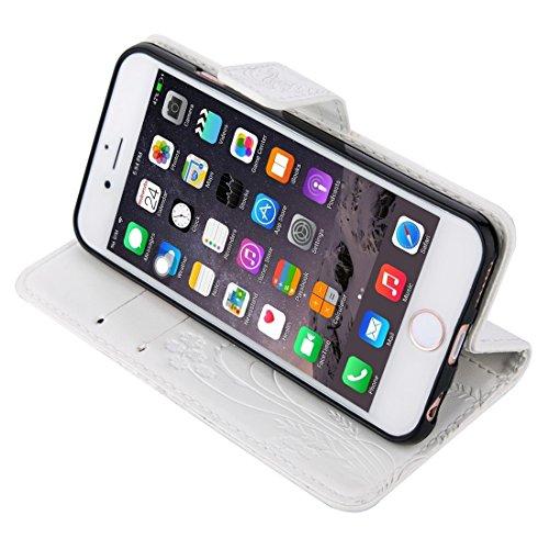 Mobile protection Para el iPhone 6 y 6s Crazy Horse Textura de impresión Horizontal Flip caja de cuero con titular y ranuras para tarjetas y billetera y cordón ( Color : Brown ) White