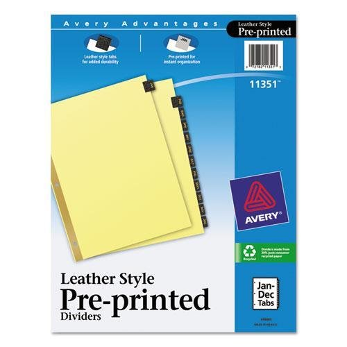 AVERY 11351 Gold Reinforced Leather Tab Dividers, 12-Tab, Jan-Dec, Letter, Black, 12/Set