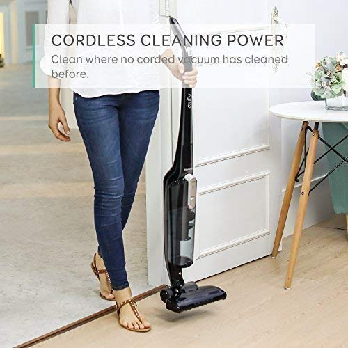 eufy HomeVac Lightweight Cordless Upright-Style Vacuum Cleaner, 28.8V 2200 mAh Li-ion Battery Powered Rechargeable Bagless Stick and Vacuum with Wall Mount - Black by eufy (Image #4)