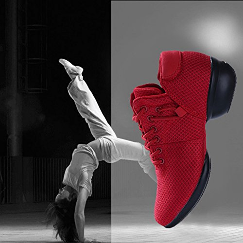 Shoes Breathable Split Ballroom Jazz Women's Lightweight Mesh Girls Sole Modern Red Dance Lady Sneakers for A Y7wEPw4