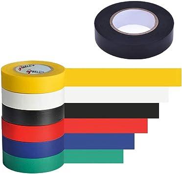 SAIYU 7 Pack Cinta de aislamiento eléctrico Cinta aislante de alambre eléctrico Impermeable adhesivo ignífugo, 10M, 6 colores, 7 rollos: Amazon.es: Bricolaje y herramientas