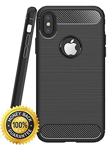 IPhone X Case with Resilient Shock Absorption and Carbon Fiber Design ,PC hard shell, soft TPU Water Proof, Dust Proof / Rugged Armor - Matte Black by OSC Atomic