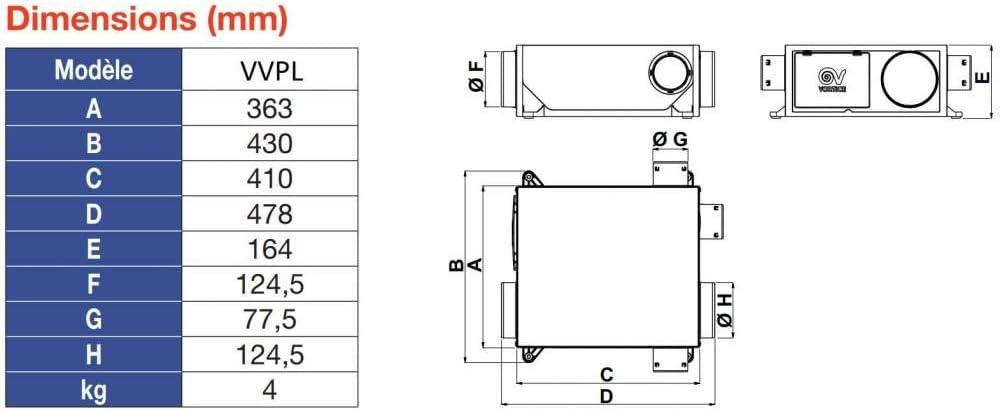 Vortice VMC hygror/églable avec 2 piquages et 2 bouches Extra Plate