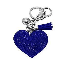 Blue Rhinestone Heart Pendant Fringe Keychain