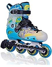 حذاء تزلج بعجلات في صف واحد للاطفال من الجنسين من ام اكس | مقاس قابل للتعديل | يمكن استخدام احذية تزلج الاطفال هذه في الداخل او الخارج |