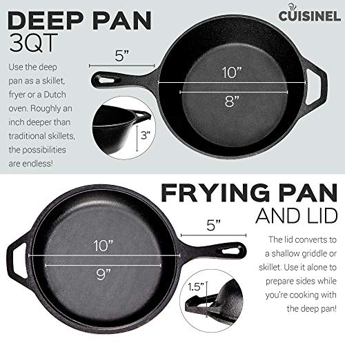 Pre-Seasoned Cast Iron 2-In-1 Multi Cooker | 3-Quart Dutch Oven and Skillet Lid Set Oven Safe Cookware | Use As Dutch Oven and Frying Pan | Indoor and Outdoor Use | Grill, Stovetop, Induction Safe by cuisinel (Image #2)