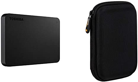 Toshiba Canvio Basics - Disco Duro Externo, 2.5 Pulgadas (6.4 cm), Negro, 2 TB & AmazonBasics - Funda de Disco Duro, Color Negro y Naranja: Amazon.es: Informática
