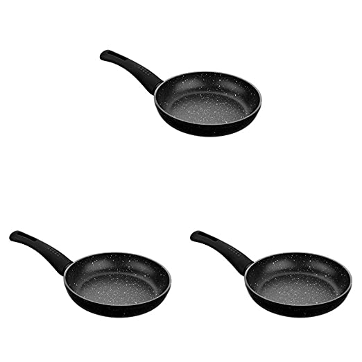 Monix Cosmos - Set de 3 sartenes, 18-22-26 cm, con antiadherente efecto piedra, color gris oscuro antracita: Amazon.es: Hogar