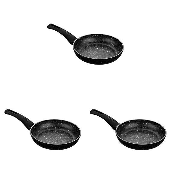 Monix Cosmos - Set de 3 sartenes, 20-24-28 cm, con antiadherente efecto piedra, color gris oscuro antracita: Amazon.es: Hogar