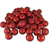 Northlight 31454106 96 Count Red Hot Shatterproof 4-Finish Christmas Ball Ornaments, 1.5""