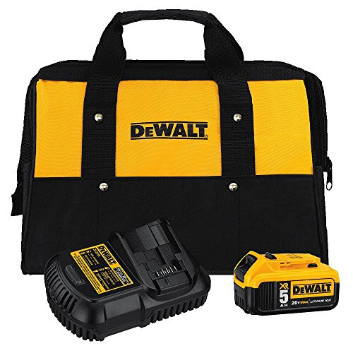 DEWALT DCB205CK 20-Volt MAX 5.0Ah Lithium-Ion Battery and Charger Kit with Bag (Lithium Max 20v Ion Battery)