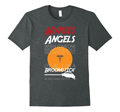 Dark Angel Halloween Costume Ideas - Mens Nurses Are Angels- On A Broomstick Halloween Costumes Tees 2XL Dark Heather