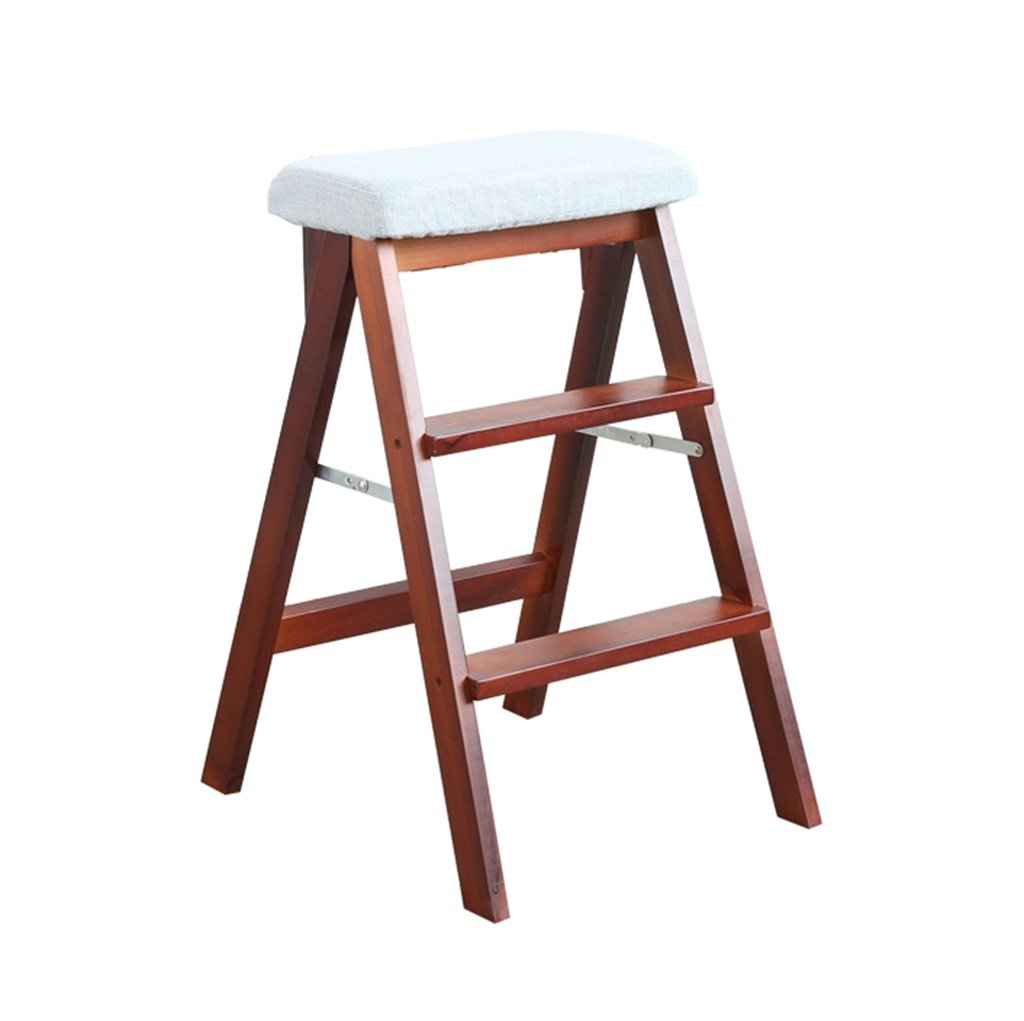 3 Steps Solid Wood Ladder Stool Folding Step Stool-Brown Leg Steps Stool Multifunctional Kitchen Office Use Ladder Chair With 3 Steps - Blue Dongy