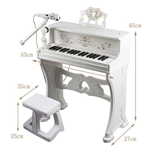 QXMEI 37-Key Piano Keyboard Premium Keyboard with Microphone Headphones Children Piano (Pink White),White by QXMEI (Image #3)