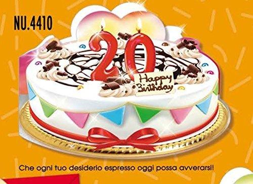 Tarjeta Felicitación cumpleaños 20 años a forma de tarta ...