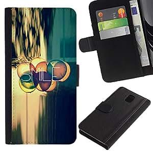 Billetera de Cuero Caso Titular de la tarjeta Carcasa Funda para Samsung Galaxy Note 3 III N9000 N9002 N9005 / Smile Quote Positive Life Attitude Motivation / STRONG