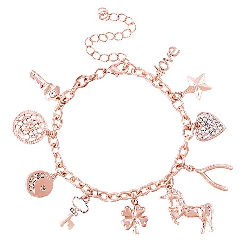 ALEXY Women's Charm Bracelet Unicorn Clover Star Heart Pendant Charms Link Chain Bracelet Bangles for Girls (Rose Gold) (Bracelet Heart Chain Charm)