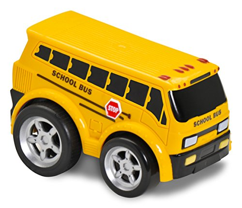 Kid Galaxy Squeezable Pull Back School Bus. Toddler Wind Up Toy for Kids Age 2 and Up