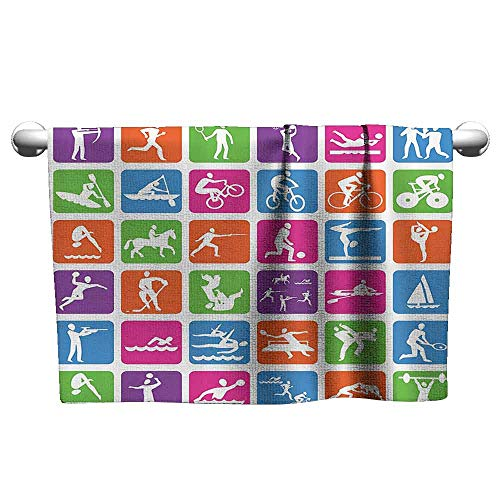 duommhome Olympics Decorations Collection Beach Activity Bath Towel Collection with 36 Sport Icons Basketball Cycling Diving Mountain Bike Wrestling Image W12 x L27 Green