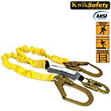 KwikSafety Double Leg 6 foot Safety Lanyard   Fall Protection Shock Absorber with Heavy Duty Snap Hook & Rebar Hook Connectors   Arborist Roofing Climbing Construction Arrest & Restraint Equipment