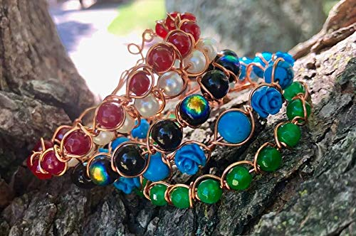 Gemstone and Copper Bohemian Beaded Bangle Bracelets Set of 5 Amethyst, Ruby, Glass Pearls, Emerald, Turquoise, Carved Roses, Glass Cat's Eye
