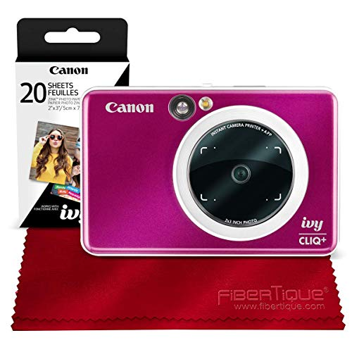 Canon Ivy CLIQ+ Instant Camera Printer (Ruby Red) + 30 Sheets Photo Paper + Basic Accessories Bundle (USA Warranty)