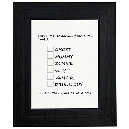 Funny Halloween Costume Check List Framed Print Poster Wall or Desk Mount (Clever College Halloween Costumes)