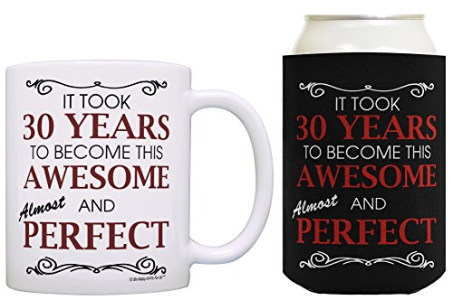 30th Birthday Ideas It Took 30 Years to Become This Awesome and Almost Perfect 30th Birthday Party Ideas 30th Birthday Decorations Coffee Mug & Can Coolie Bundle Black