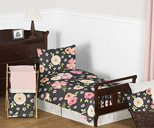 Sweet Jojo Designs Black, Blush Pink and Gold Shabby Chic Watercolor Floral Girl Toddler Bedding Set for Children Kids - 5 Pieces Comforter, Sham and Sheets - Rose Flower Polka - Toddler Bedding Set Polka Dot